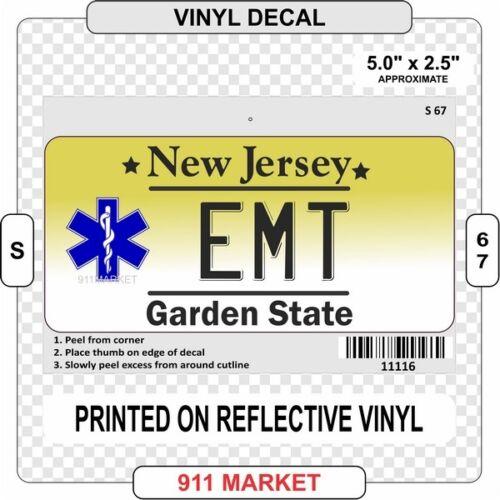 NJ EMT License Plate Decal Reflective Emergency Medical New Jersey Sticker  S 67