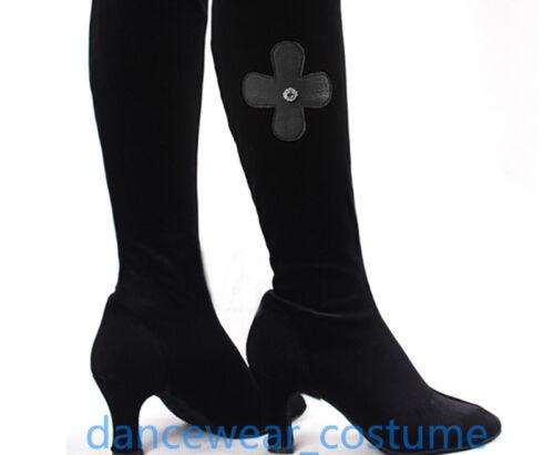 Women/'s Black Velvet Ballroom Latin Tango Modern Salsa Dance Boots Shoes US5-8
