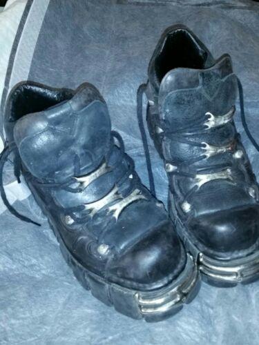 New Rock  Black Goth Classic Leather Biker Boots p