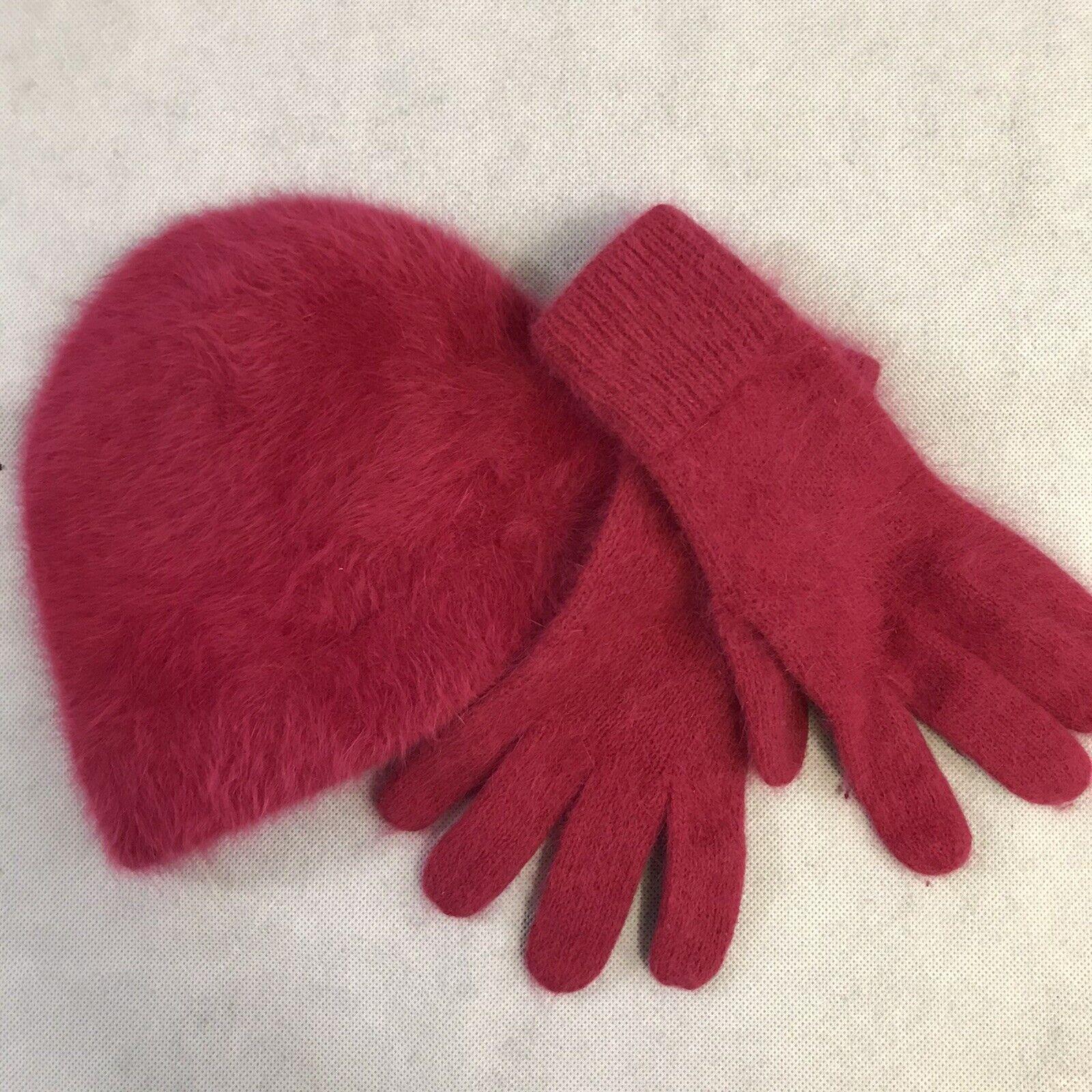 Hat and Glove Gloves SET Angora Rabbit Hair Wool Winter Soft Fluffy