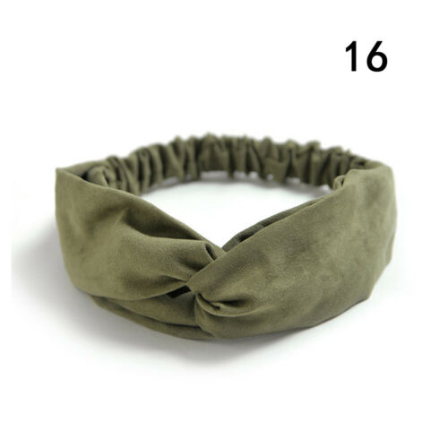 Women Suede Solid Headbands Turban Knot Elastic Hairbands Girls Knot Hair Wrap