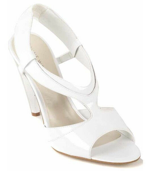 New NINE WEST femmes blanc Patent Leather Heel Slingback Sandal chaussures Sz 8.5 M