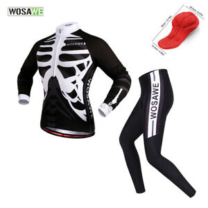 Men-039-s-Cycling-Sets-Skeleton-Long-Sleeve-Jersey-Padded-Pants-Bike-Bicycle-Tights