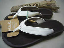 OLUKAI WOMENS SANDALS OHANA WHITE DARK JAVA SIZE 8