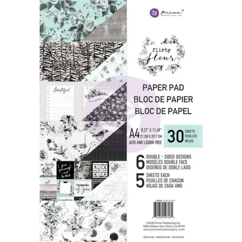 Prima Flirty Fleur double-sided Paper pad a4 30//pkg motivo bloque a4 6 Designs