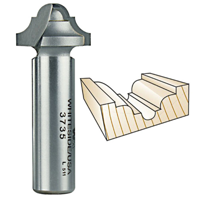 2 Flute 1//4 SH Whiteside 3//16 Ball Round Nose CNC Router Bit 3//4 CL 3//32 R