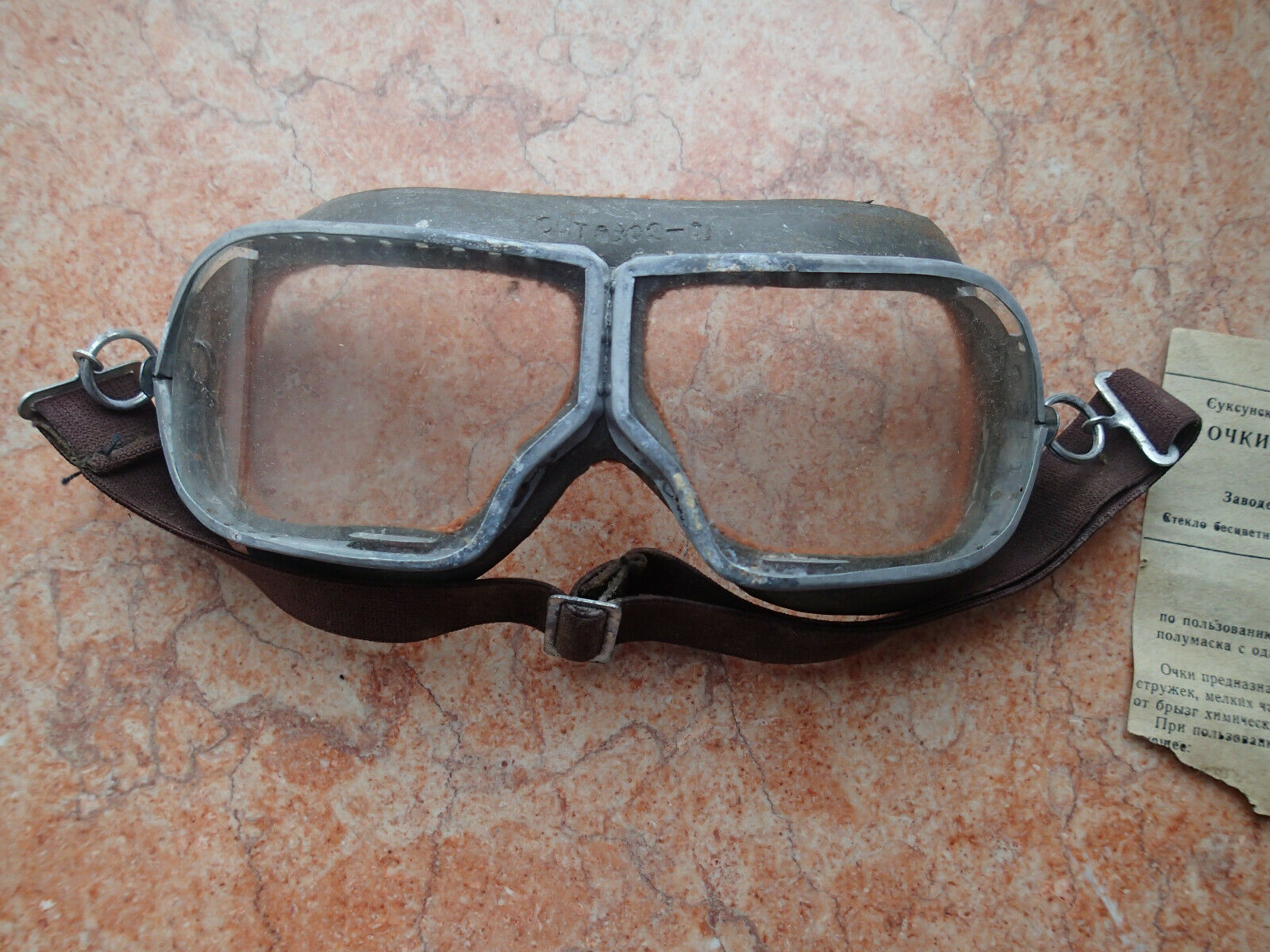 !!! Vtg USSR ARMY old safety glasses motorcycle mountain Carpentry work etc