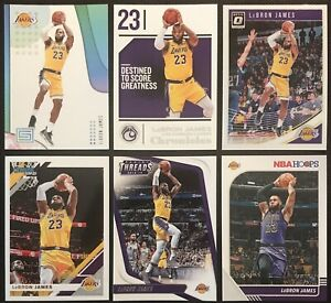 LEBRON-JAMES-6x-LOT-Threads-Hoops-amp-Donruss-Optic-All-6-in-LA-Lakers-Jersey