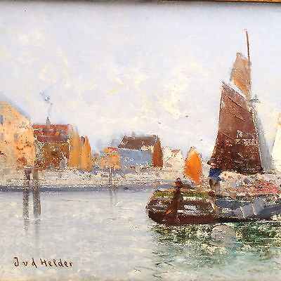 Antikes Gemälde J.v.d. Helder Holland Maler Ölgemälde Segelboote Impessionismus QualitäTswaren