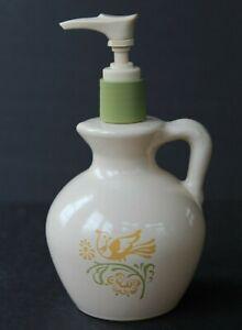Avon-Vintage-Country-Pitcher-Soap-Lotion-Dispenser-Bottle-Bird-Yellow-Green