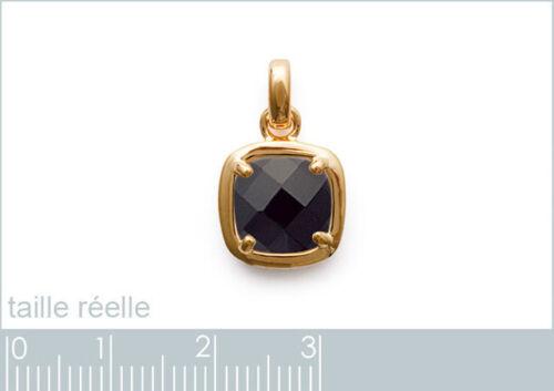 CHAÎNE en OPTION Pendentif Plaqué Or 18 carats et Oxyde de Zirconium noir