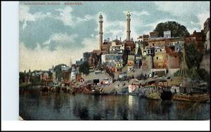 Varanasi-BENARES-Indien-India-Vintage-Postcard-1920-Aurungzebes-Mosque-Moschee
