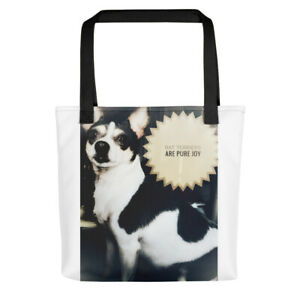 Tote bag Rat Terriers are pure joy. White tote with black handles.