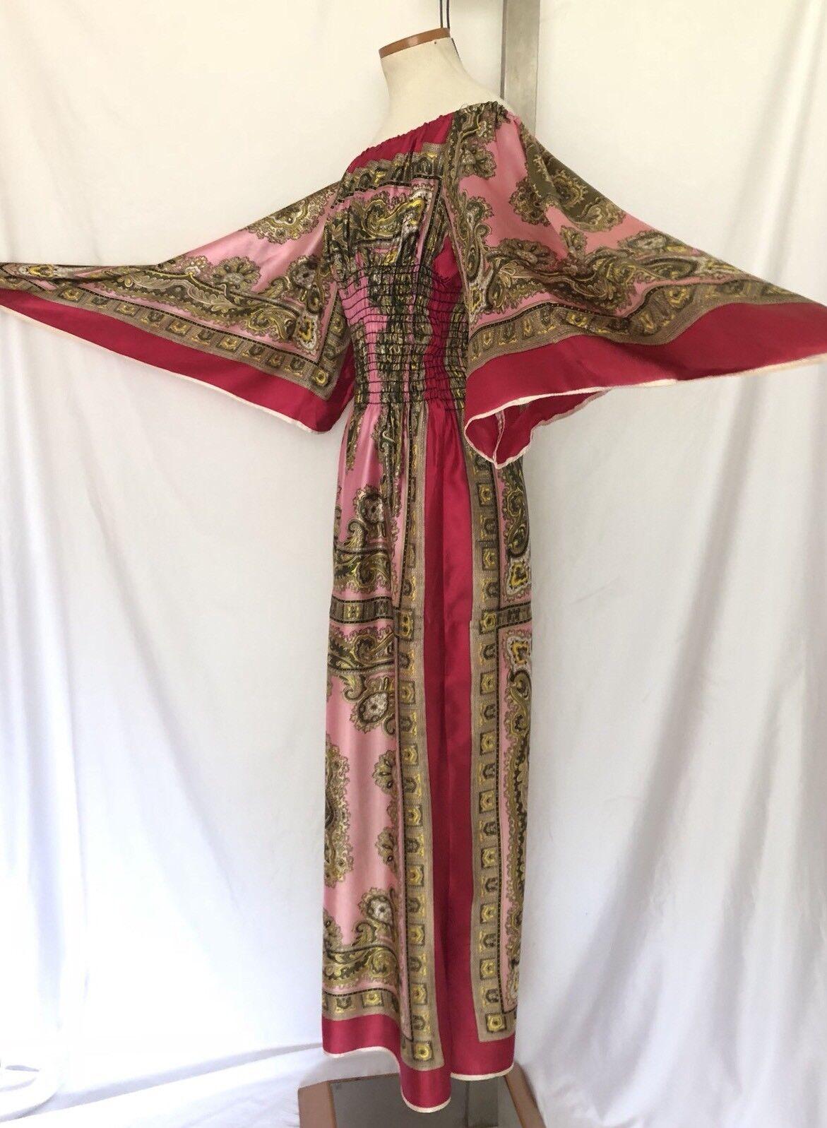 VIntage Paisley Print Dress BOHO Caftan Maxi Hand Rolled Hem Hand Made