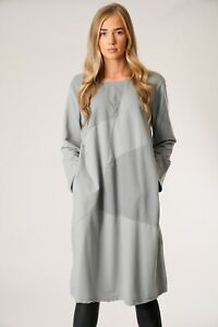 New-Ladies-Italian-Lagenlook-Long-Sleeve-Quirky-Ribbed-Panel-Insert-Tunic-Dress