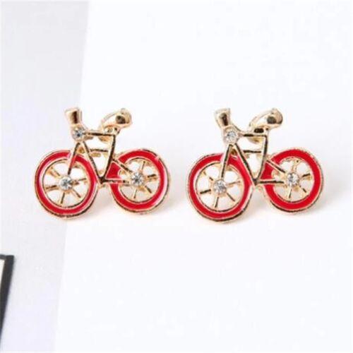 Bicicleta Bici Stud Pendientes de oro rojo o blanco con diamantes Super Lindo
