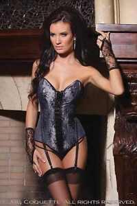 con e autentica corsetto Lingerie nero in lusso raso argento corsetto di E0q4wH
