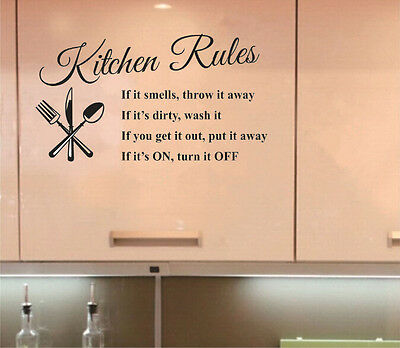DIY Kitchen Rules Words Wall Stickers Removable Home Decor Vinyl Art Mural Decal