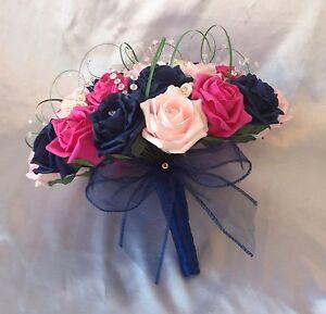 WEDDING FLOWERS ARTIFICIAL PINK HOT PINK NAVY BLUE ROSE BRIDE WEDDING BOUQUET