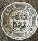 """GIEN Puzzle Plate~8"""" Across~France~Black & White~Puzzle Answer On Back~Plate #6"""