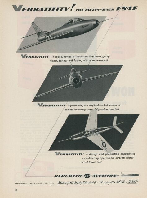 1950 Republic Aviation Ad F84 Jet Fighter F84f Air Force Swept Back Wing Plane