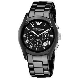 Emporio-Armani-Uhr-AR1400-CERAMICA-Keramik-Schwarz-Herren-Chronograph-Datum-NEU