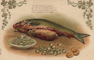 1908-EMBOSSED-FISH-SALMON-CARP-TROUT-amp-CLOVER-LEAVES-amp-GOLD-COINS-POSTCARD