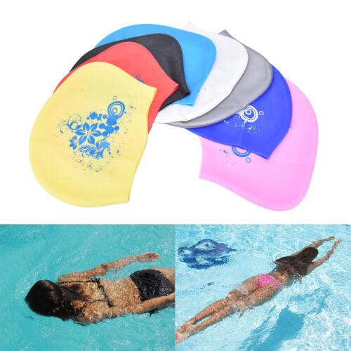 Women swimming caps Silicone Long Hair Girls Waterproof Swimming Cap Ear Cup HD