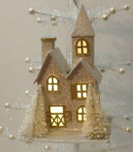 Nwt Pottery Barn Lit German Glitter Victorian House