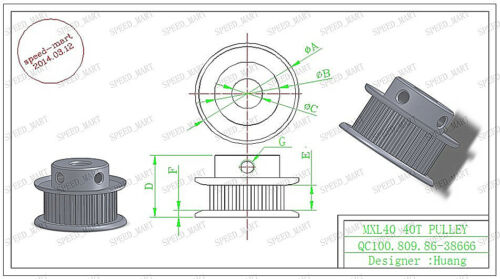 """MXL Aluminum Timing Belt Pulley 100 Tooth 8mm Bore 0.08/"""" Pitch for Stepper Motor"""