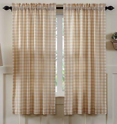 "63/"" L Curtains Black White Farmhouse Cotton Lined Tie Backs Annie Buffalo Check"