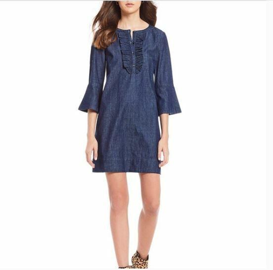 DRAPER JAMES Dress Sz 12 Chambray Denim Ruffle Sh… - image 1