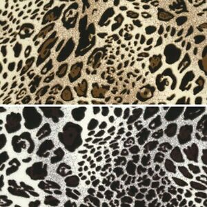 Polyester-Silky-Satin-Fabric-Shiny-Leopard-Animal-Print-145cm-Wide