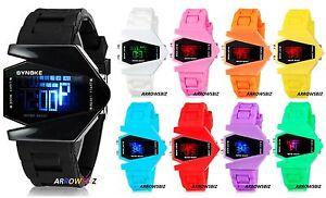 Aircraft-Bomber-Shape-Sports-LED-Digital-Watch-Silicone-Multifunction-Wristwatch