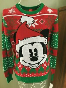 Details about Men's Ugly Christmas Sweater NWT Xmas Disney Mickey Mouse Santa Claus Medium WOW