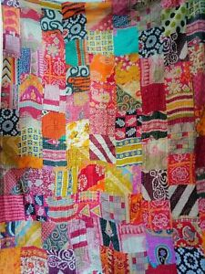 Vintage-Patchwork-Kantha-Quilt-Blanket-Indian-Quilts-Bedspread-Twin-Cotton-Throw