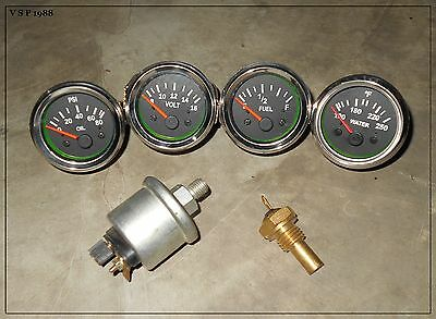 "Fuel Gauge-Black CHRM TEMP volt 52mm 2/"" Electrical oil pressure OIL TEMP"