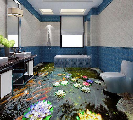 3D Cool River Lotus Piso impresión de parojo de papel pintado mural de pescado Calcomanía 5D AJ Wallpaper