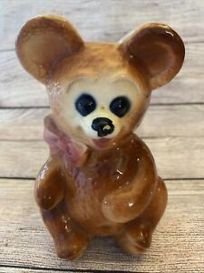 "VTG ROYAL COPLEY BROWN TEDDY BEAR CERAMIC PLANTER PINK BOW 6.5"" TALL"