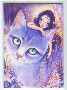 ACEO S/N L/E GORGEOUS GIRL LAVENDER GARDEN AQUA EYES CAT FAIRY RARE ART PRINT