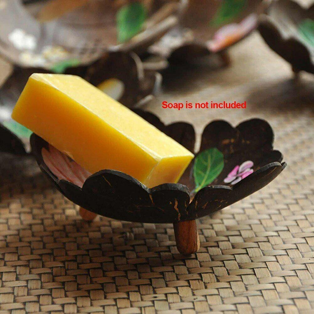 Handmade Coconut Shell Soap Box Floral Leaf Ornaments Bathroom Soap Dish Decorat