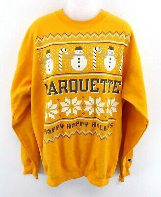 Champion Mens Jumper Sweater M Medium Yellow Marquette Happy Holidays Christmas Wasserdicht, StoßFest Und Antimagnetisch