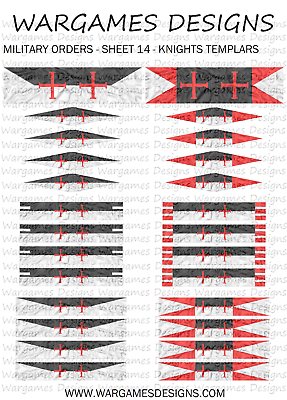 10mm Knights Templars Flags Sheet 16 DBA Hail Caesar Lion Rampant FOG
