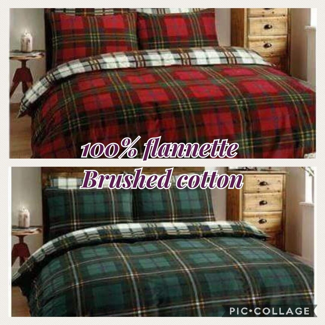 Tartan bedding GREEN king size. 100% brush cotton. GREEN COLOUR. FREE P&P