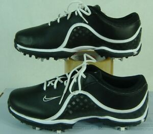 Womens 6 Nike Golf Ace Black Synthetic Leather Cleats Spike Shoes0 418369-010