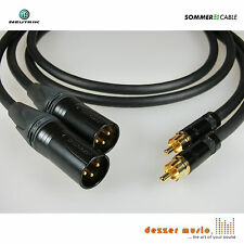 2x 1m Adapterkabel GALILEO NEUTRIK Gold / XLR male Cinch /Sommer Cable 1,00m TOP