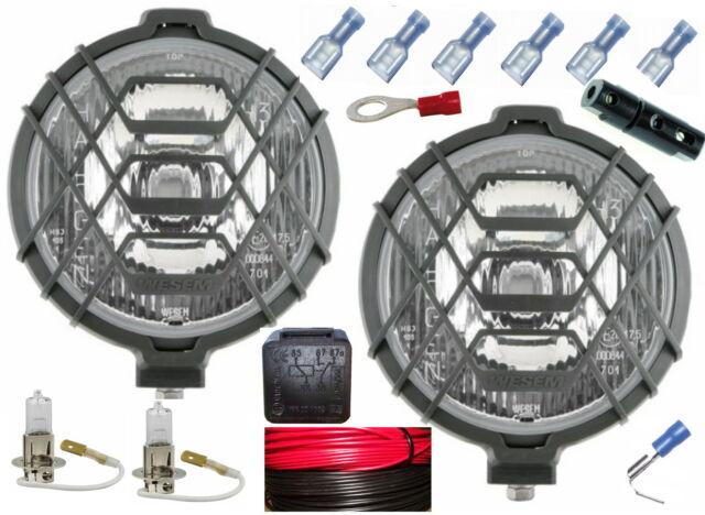 2 Stück H3 Fernscheinwerfer Halogen Scheinwerfer Gitter Kabel Relais Birnen 12V
