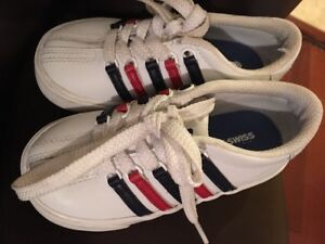 scarpe da ginnastica autentico comprare a buon mercato Details about K-SWISS CLASSIC WHITE W/Red & Blue Stripes Leather INFANT  TENNIS SHOES SIZE 7
