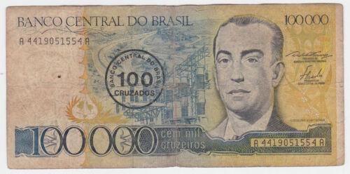 Brazil 1986 ND 100 Cruzados on 100,000 Cruzeiros UNC P-208