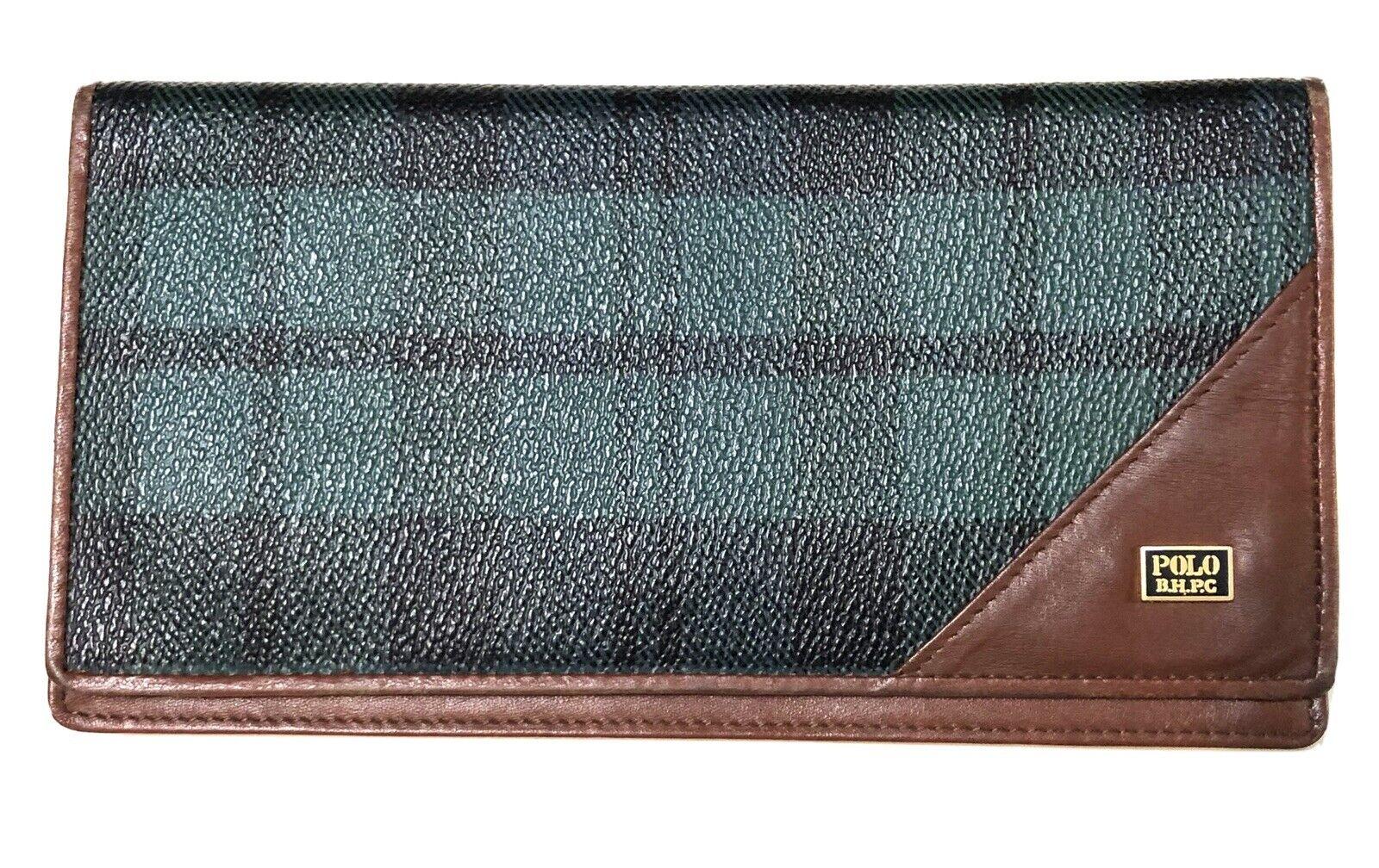 Beverly Hills Polo Club Ralph Lauren Tartan Plaid Leather Canvas Wallet 1982